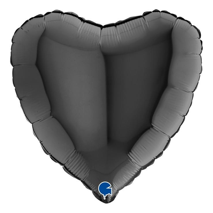 Ballon mylar coeur noir
