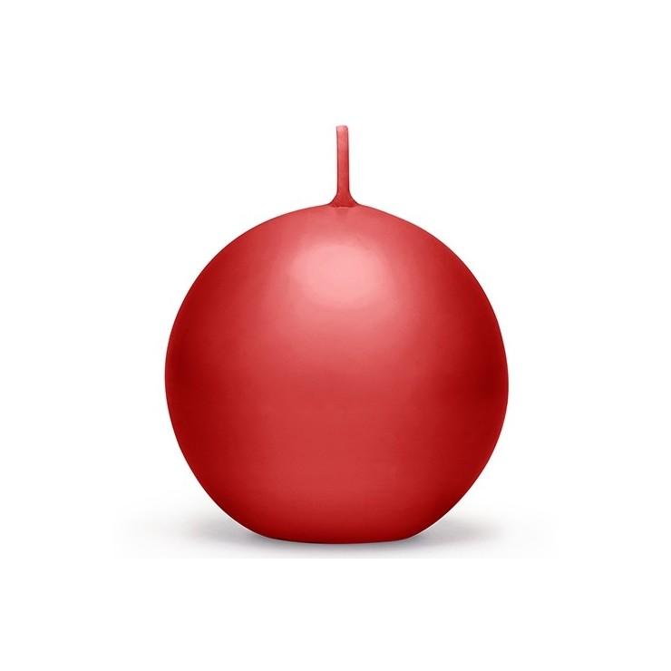 Bougie sphere rouge 8 cm