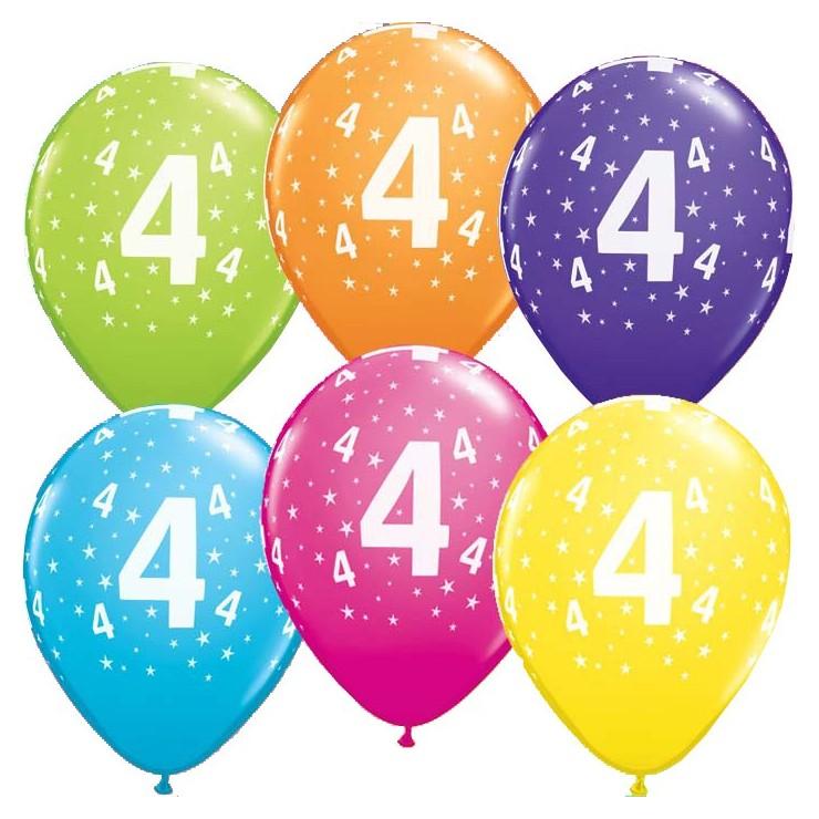 5 Ballons chiffres 4