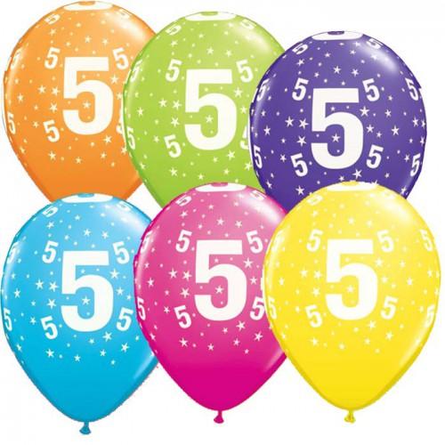 5 ballons chiffres 5