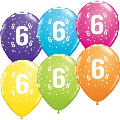 5 ballons chiffres 6