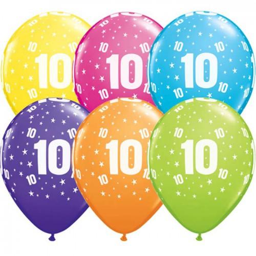 5 ballons chiffres 10