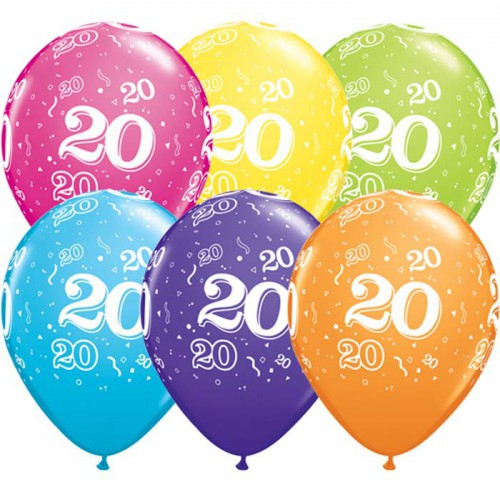 5 ballons chiffres 20
