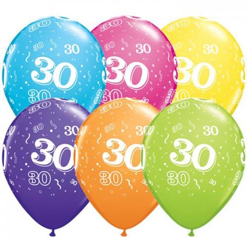 5 ballons chiffres 30