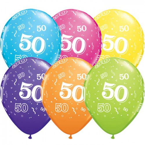 5 ballons chiffres 50