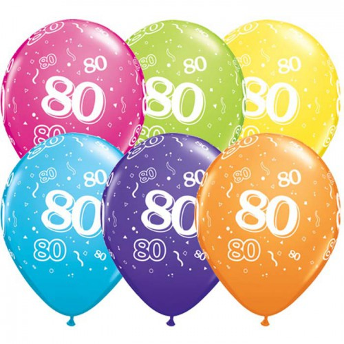5 ballons chiffres 80