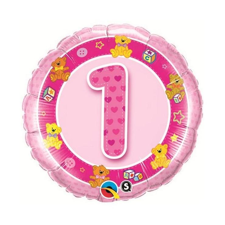 Ballon pink teddies 1 an 45cm