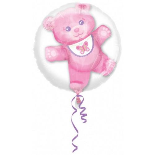 Double ballon ourson rose 60 cm