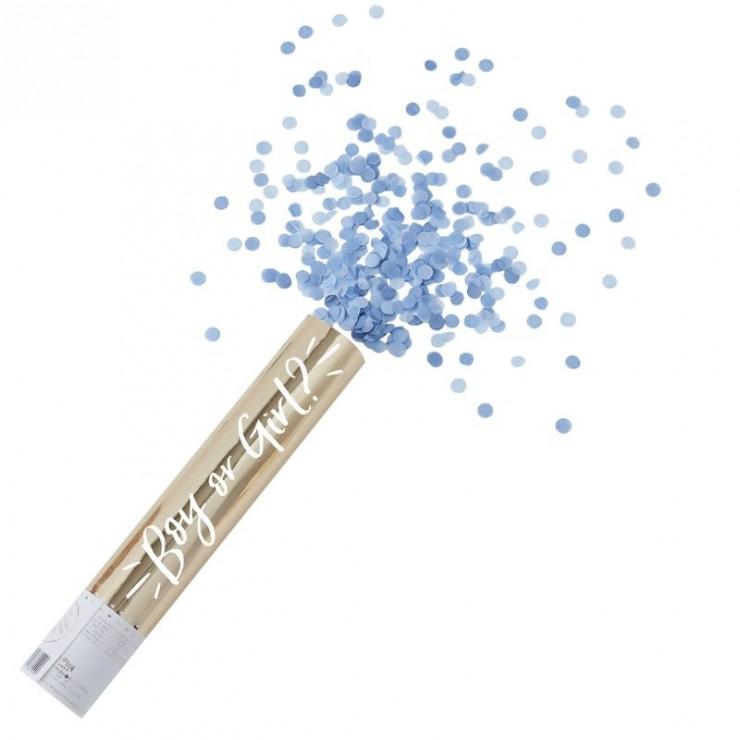 Canon à confettis Boy or Girl ? bleu