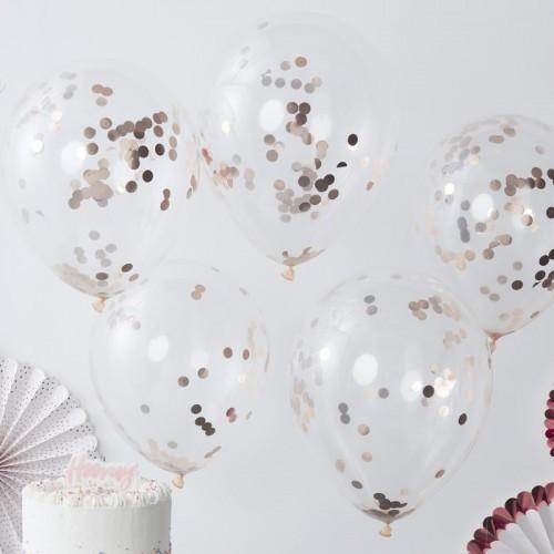 Ballons transparents confettis rose gold x5