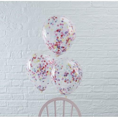 Ballons transparents confettis multicolores x5