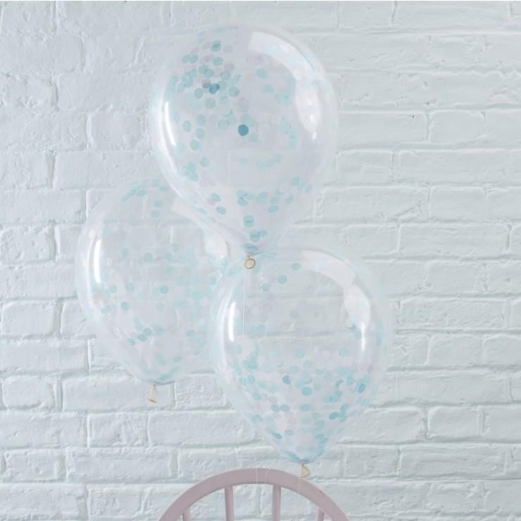 Ballons transparents confettis bleus x5