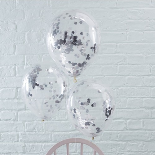 Ballons transparents confettis argentés x5