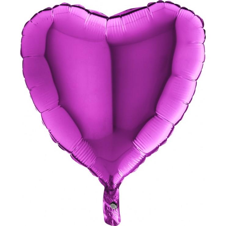 "Ballon mylar coeur violet 18"""