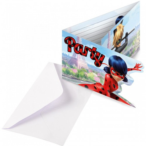 Cartes d'invitation Miraculous x8
