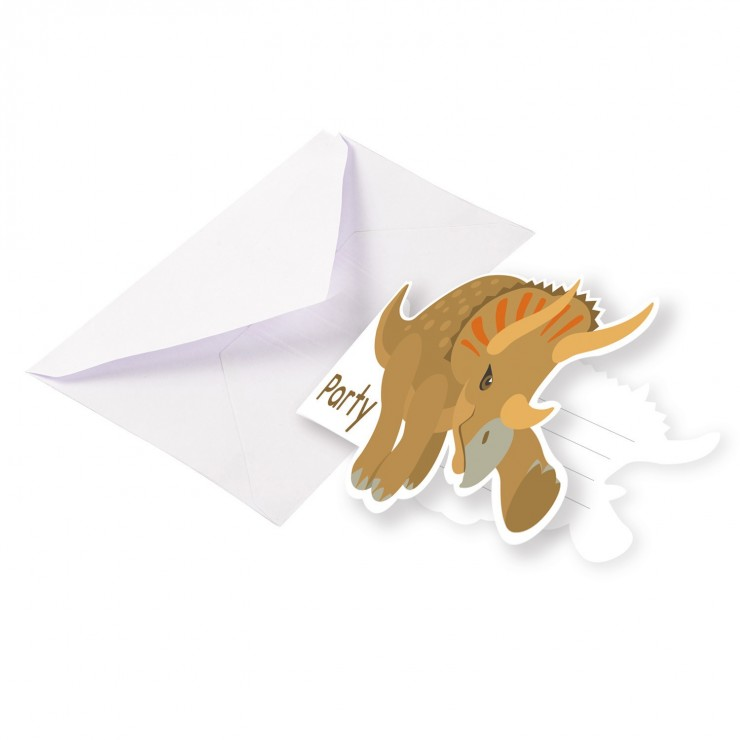 Invitations Happy dinosaure x8