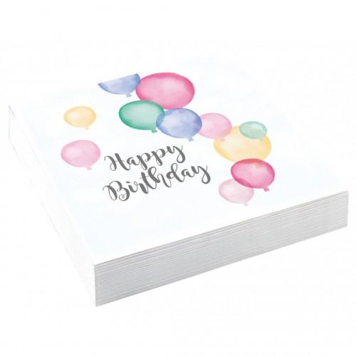 Serviettes Happy birthday pastel x20