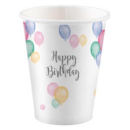 Gobelets happy birthday pastel x8