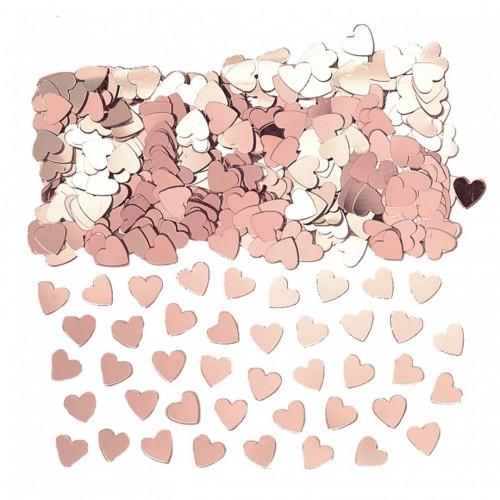Confettis de table coeurs rose gold