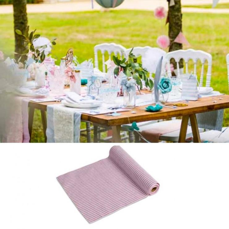 Chemin de table blanc rayé rose