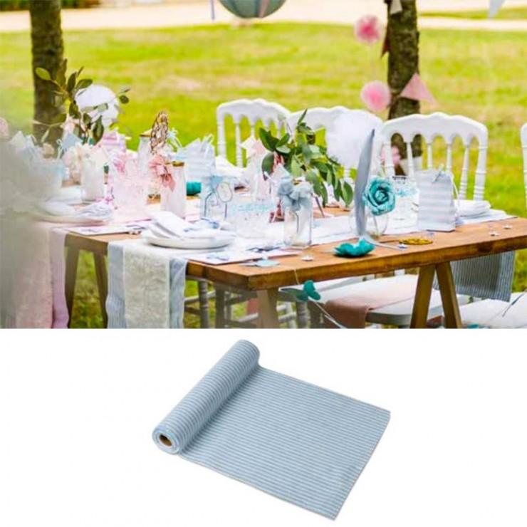 Chemin de table blanc rayé bleu