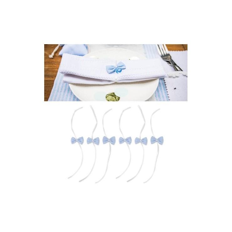 Noeud rayé bleu et blanc x6