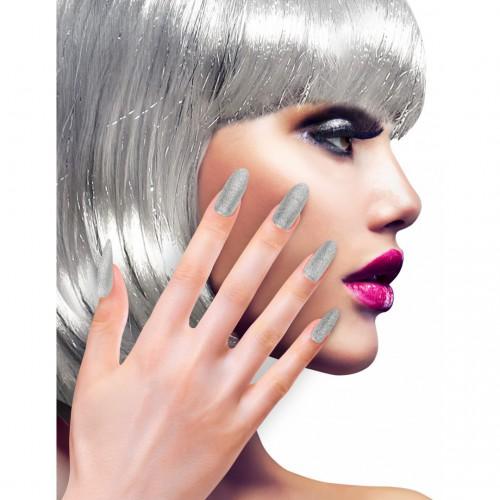 Faux ongles argentés