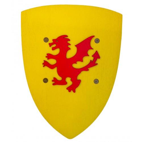 Bouclier jaune dragon bois
