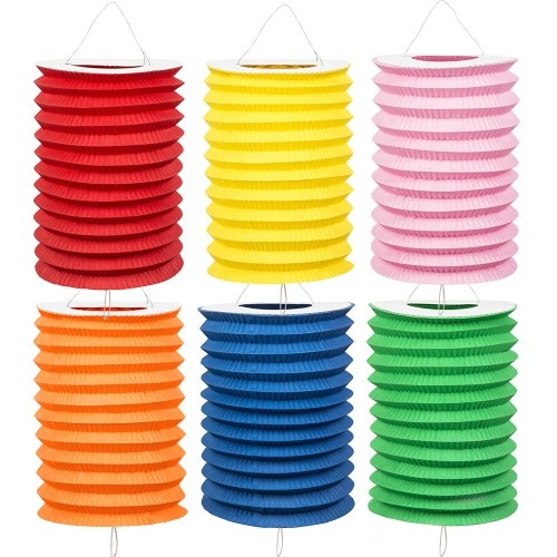 Lampions cylindriques unis x12