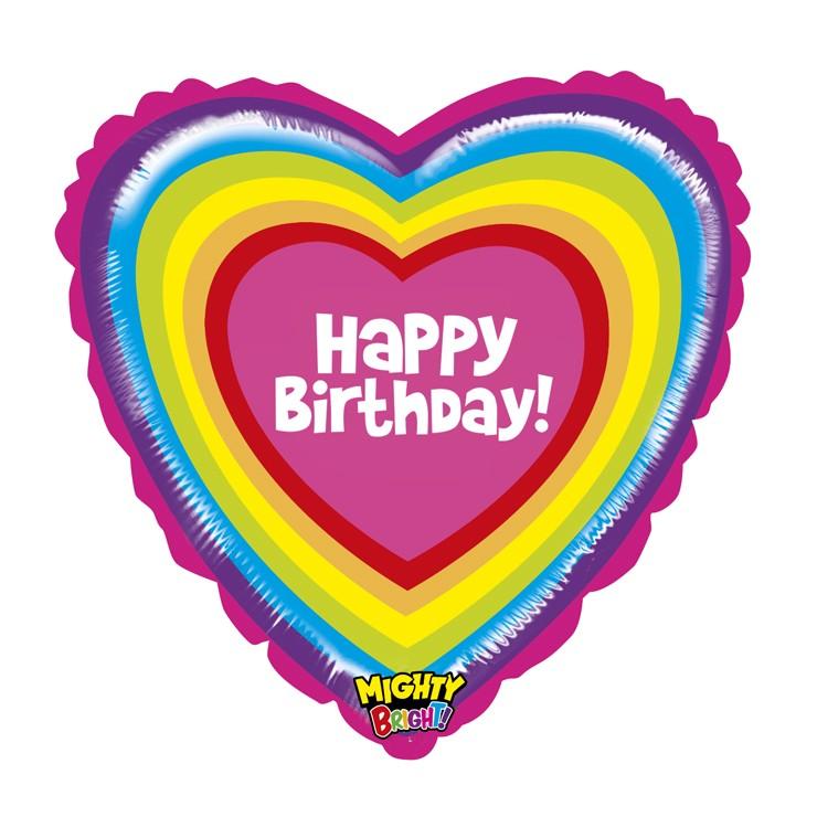 Ballon cœur Happy birthday arc en ciel