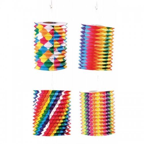 Lampions cylindriques bariolés 13 cm