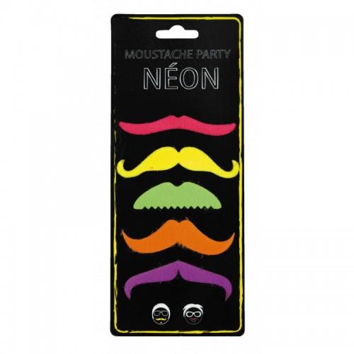 Moustaches party neon