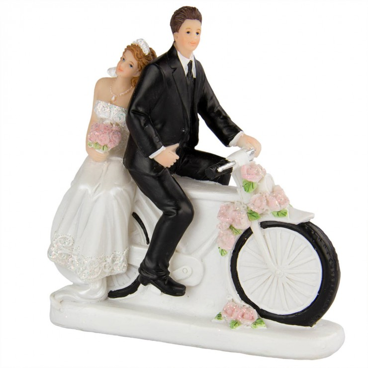 Figurine de mariage à vélo