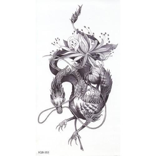 Tatouage flower dragon noir & blanc