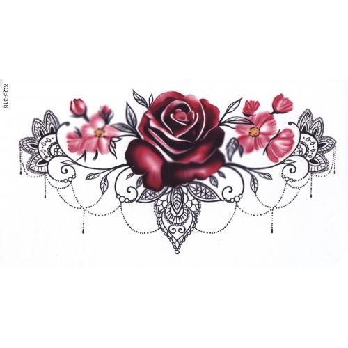 Tatouage red rose lace underboob