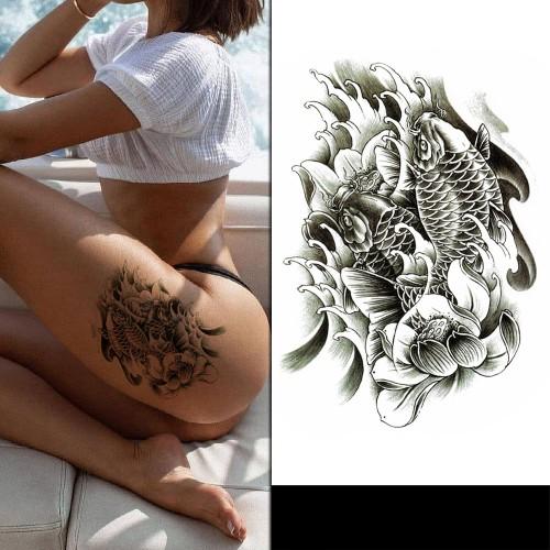 Tatouage lotus & koï