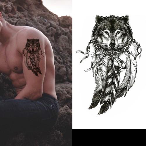 Tatouage attrape rêve loup