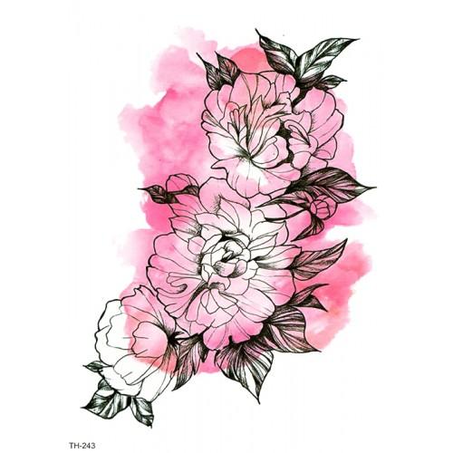 Tatouage fleurs aquarelle