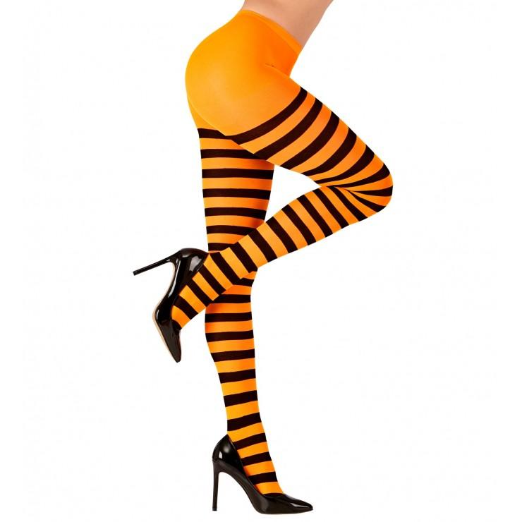 Collant rayé orange noir adulte