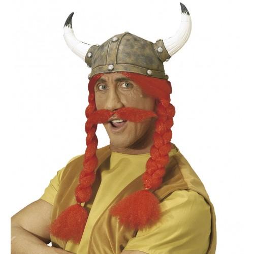 Casque Gaulois avec nattes et moustache