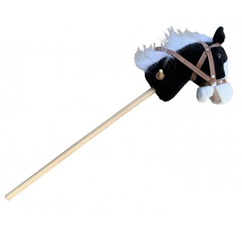 Cheval noir sonore sur bâton