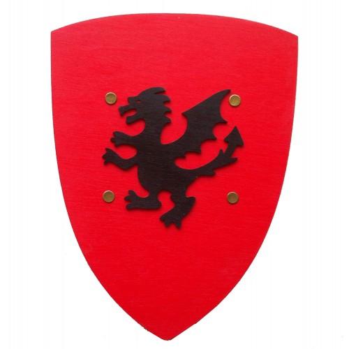 Bouclier rouge dragon noir