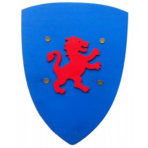 Bouclier bleu lion rouge