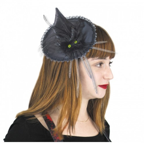 Chapeau de sorcière avec chat noir