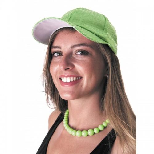 Casquette sequins vert neon