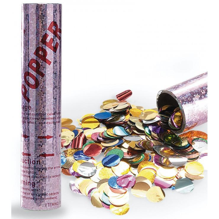 Canon confettis ronds métallisés 30 cm