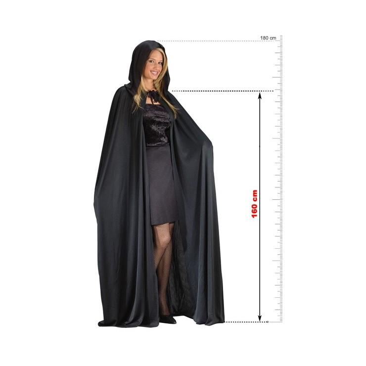Cape & capuche noire 160 cm