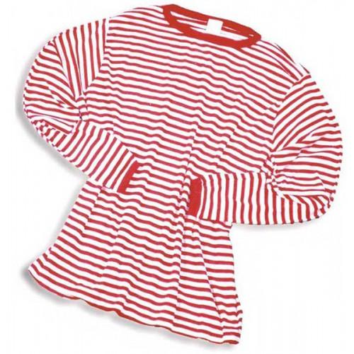 T-shirt Manches Longues Rouge / Blanc