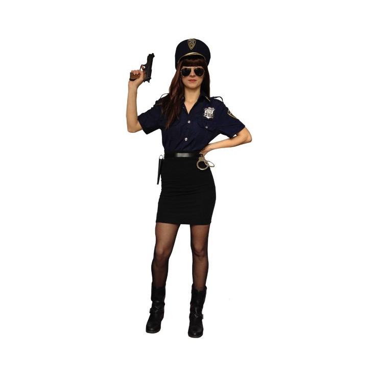 Costume police bleu (chemise et casquette)