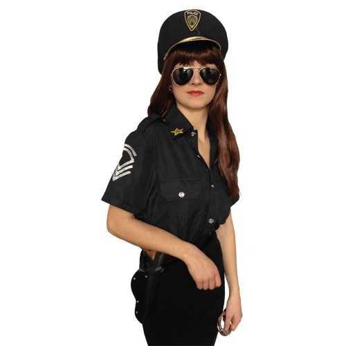 Policière noire (chemise et casquette)